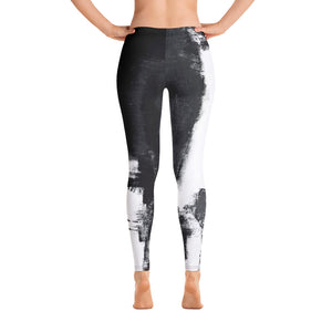"""Abstract Woman Black and White"" Regular-Waist Leggings P"