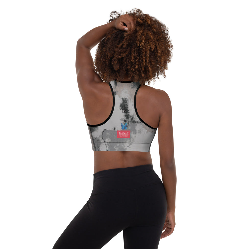 """Abstract Woman Black and Grey Tidewell"" Padded Sports Bra P"