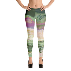 """Fluid Blush and Green"" Regular Waist Leggings"