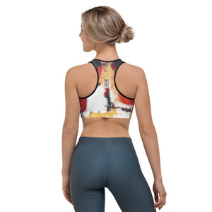 """Abstract Woman Red and Gold"" Sports Bra P"
