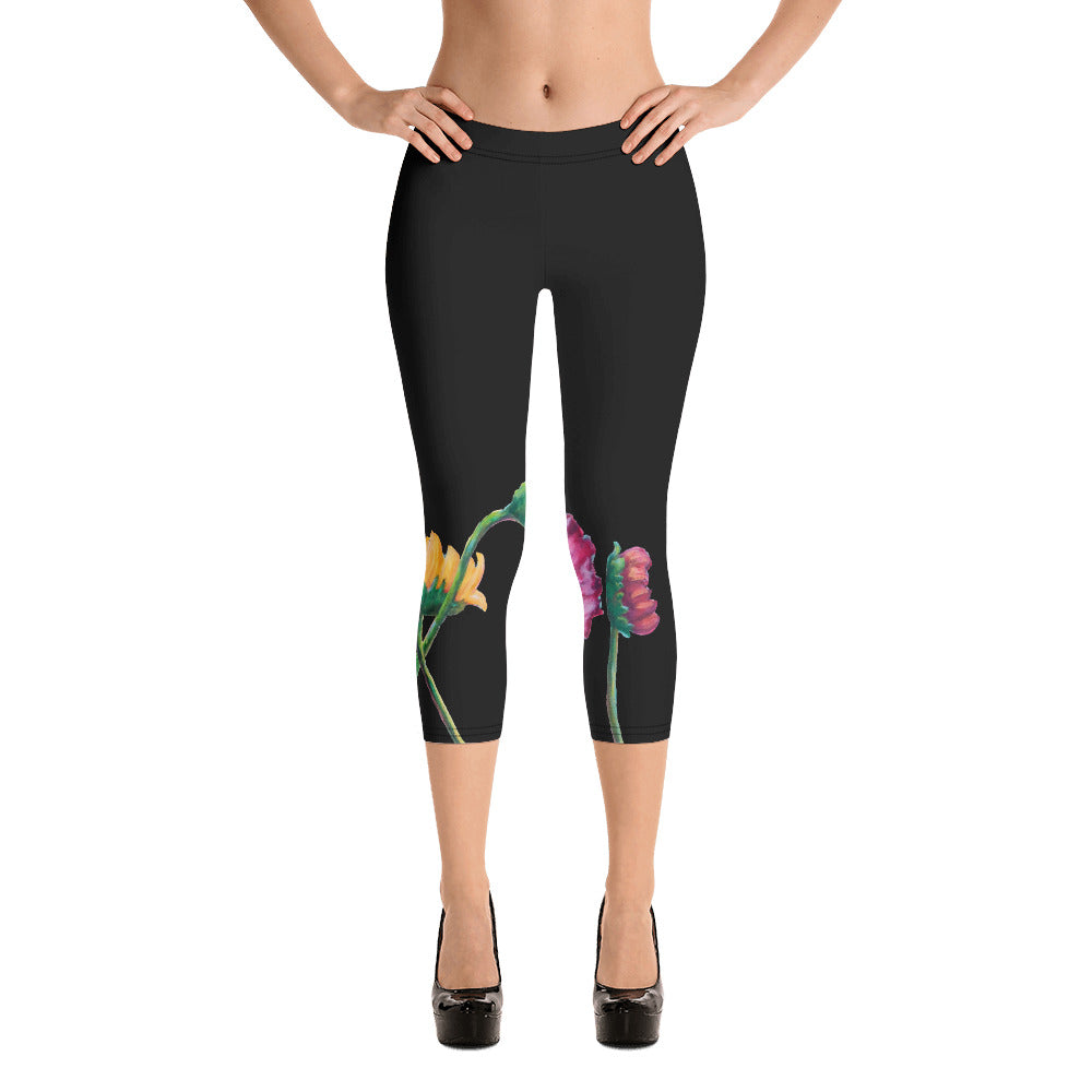 """Flowers on Black II"" Regular-Waist Capris"