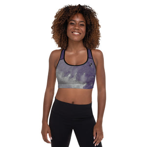 """Dark Purple Feather Paws and Claws"" Padded Sports Bra"