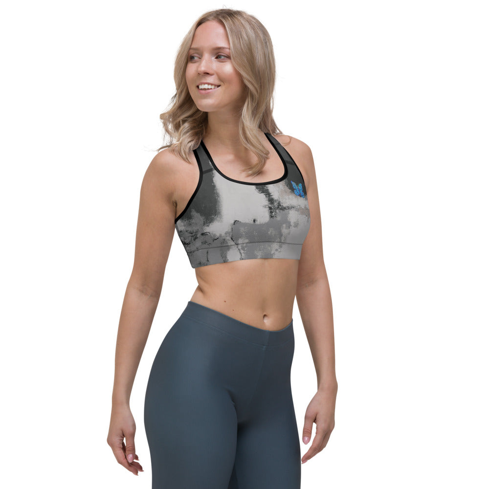"""Abstract Woman Black and Grey Tidewell"" Sports Bra"