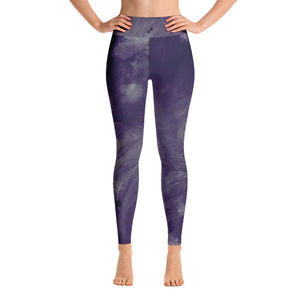 """Dark Purple Feather Paws and Claws"" High-Waist Leggings"