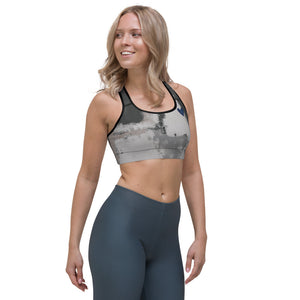 """Abstract Woman Black and Grey CCC"" Sports Bra P"