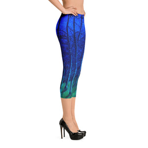 """Cobalt Trees at Midnight"" Regular-Waist Capris"