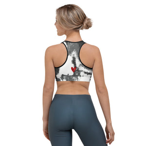 """Abstract Woman Black and White with Red Hearts"" Sports Bra P"