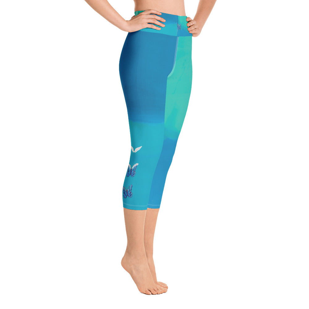 """Color Block Green and Blue Tidewell"" High-Waist Capris"