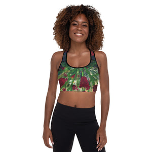 """Red Tulips"" Padded Sports Bra P"