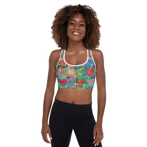 """Hearts Without Borders"" Padded Sports Bra P"