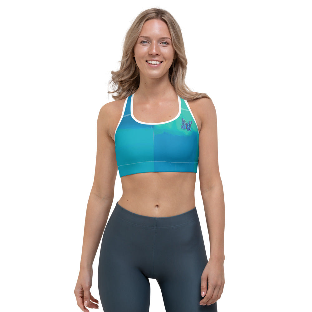 """Color Block Green and Blue Tidewell"" Sports Bra"