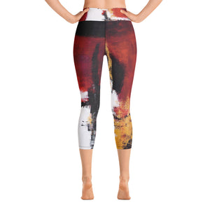 """Abstract Woman Red and Gold"" High-Waist Capris P"