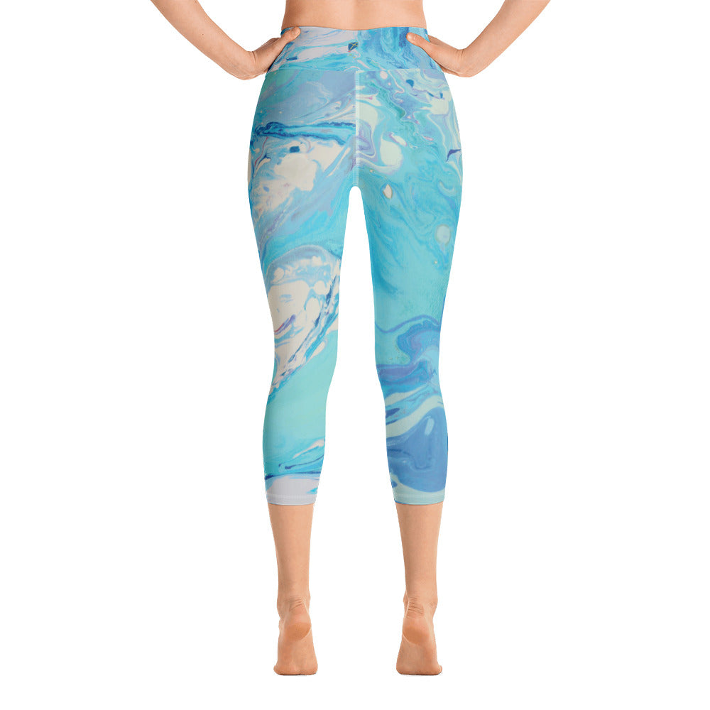 """Fluid Light Blue and Grey CCC"" High-Waist Capris"