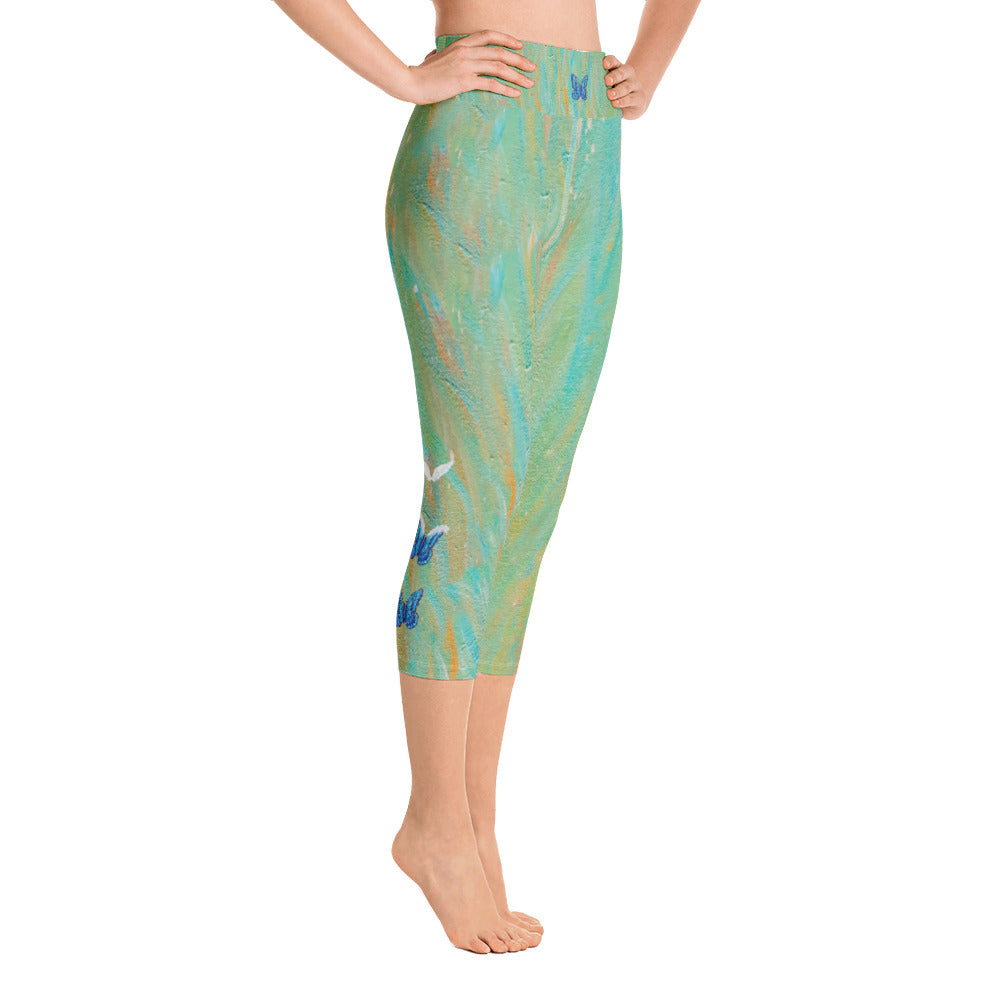 """Butterfly to Angel Wings Tidewell"" High-Waist Capris"