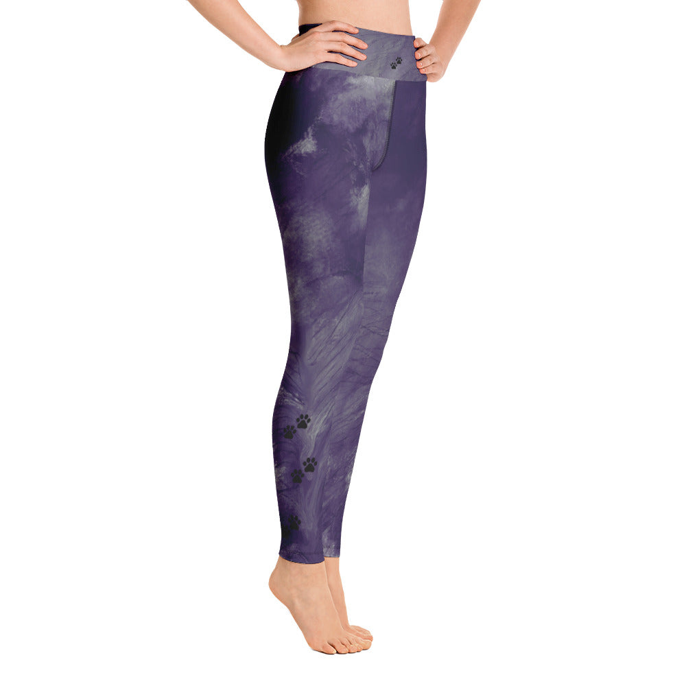 """Dark Purple Feather Paws and Claws"" High-Waist Leggings P"