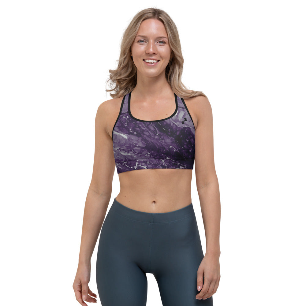 """Fluid Dark Purple Paws and Claws"" Sports Bra P"