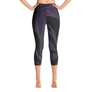 """Purple Leaves Paws and Claws"" High-Waist Capris"