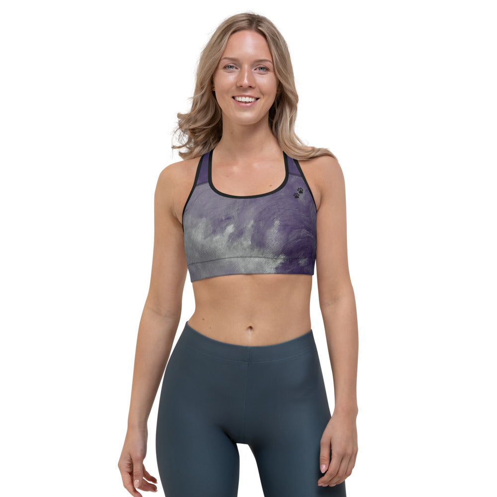 """Dark Purple Feather Paws and Claws"" Sports Bra"