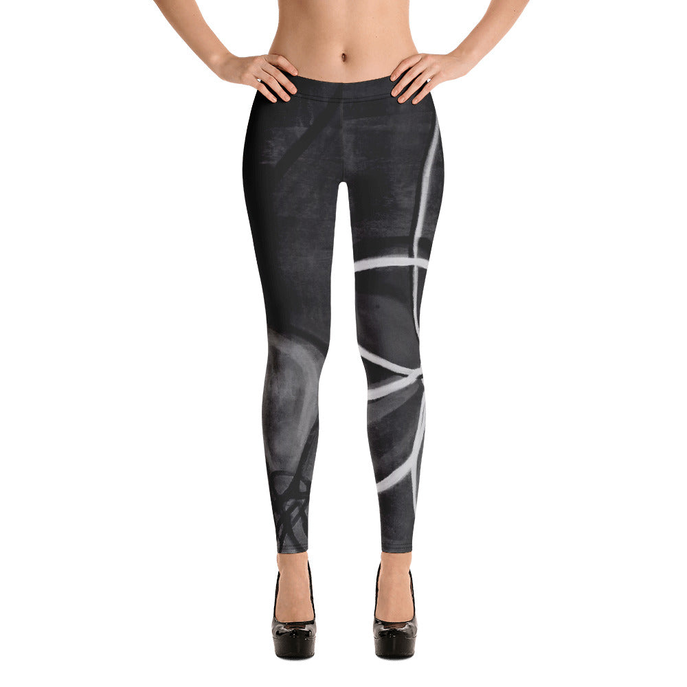 """Abstract Noir"" Regular-Waist Leggings"