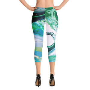 """Fluid Green Swirls"" Regular-Waist Capris"