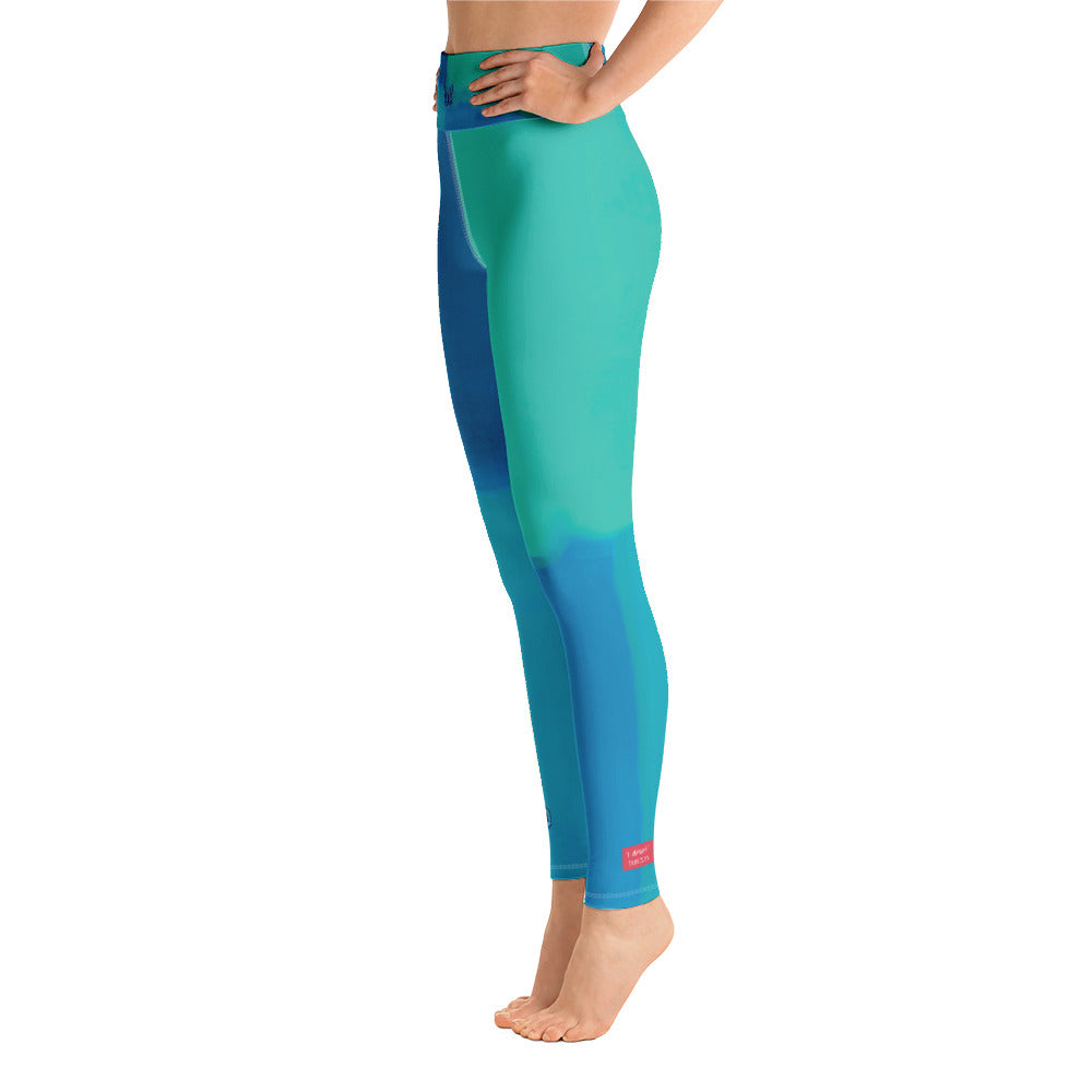 """Color Block Green and Blue Tidewell"" High-Waist Leggings P"