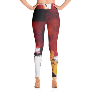 """Abstract Woman Red and Gold' High-Waist Leggings P"