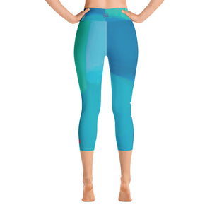 """Color Block Green and Blue Tidewell"" High-Waist Capris P"