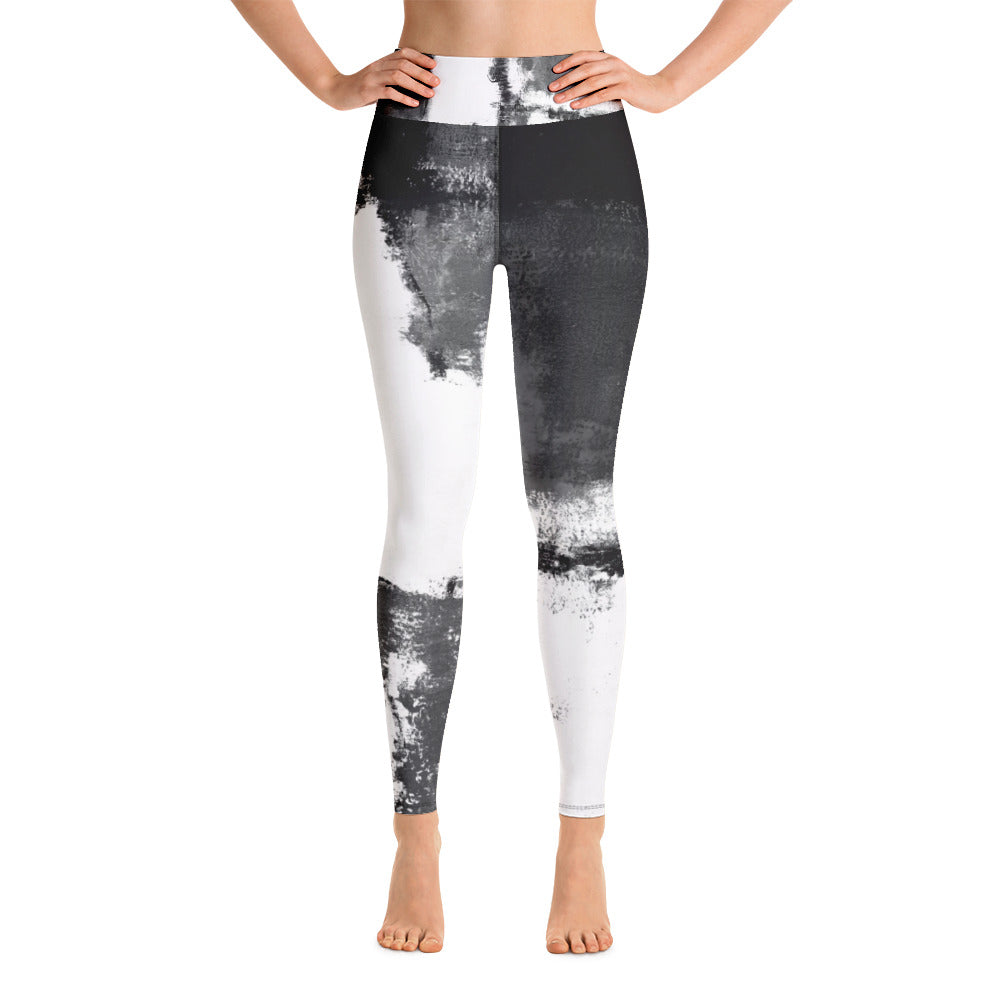 """Abstract Woman Black and White"" High-Waist Leggings P"
