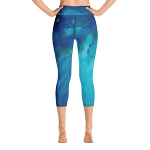 """Blue Feather"" High-Waist Capris"