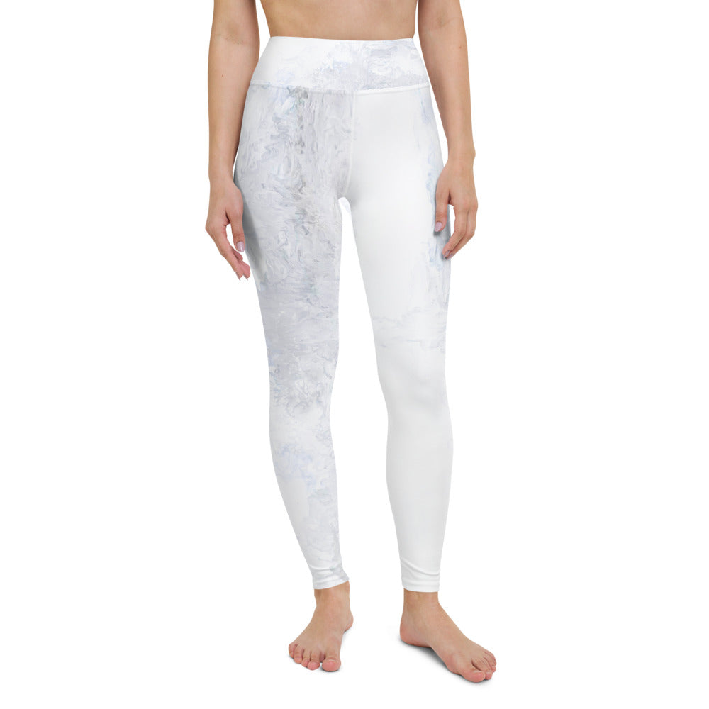 """Abstract Pale White and Grey"" High-Waist Leggings"