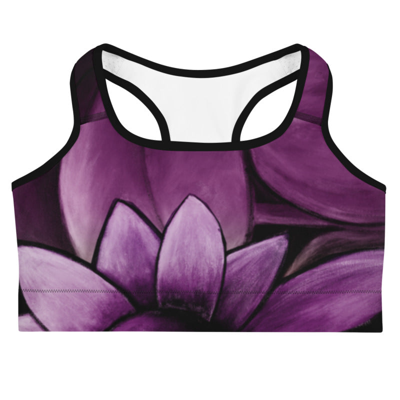 """White Flowers on Amethyst"" Sports Bra"