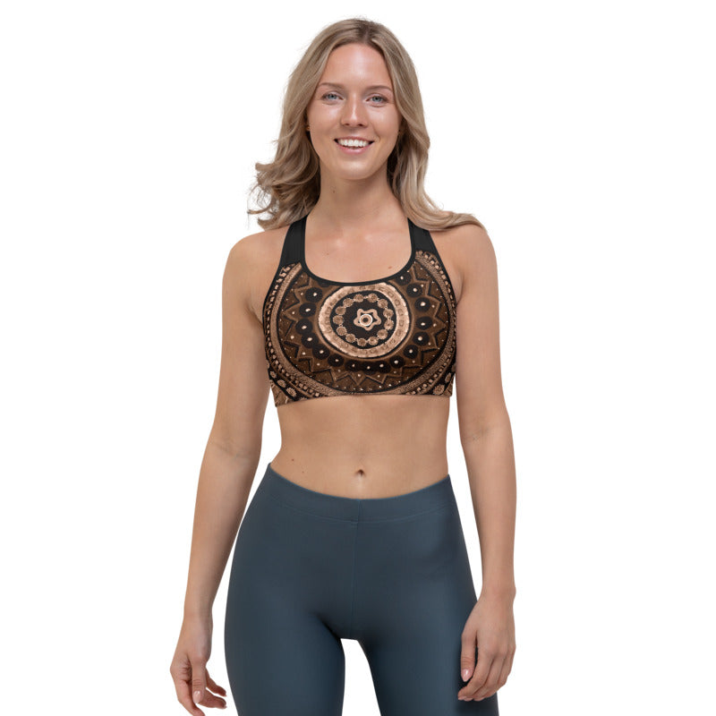 """Mandala Black & Brown"" Sports Bra"
