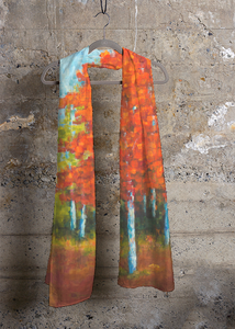 """Red Mosaic Trees"" Scarf"