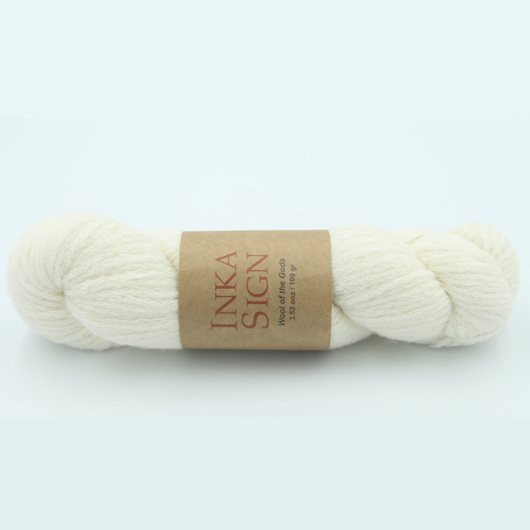 Aran Weight Yarn Baby Alpaca Cotton Ivory