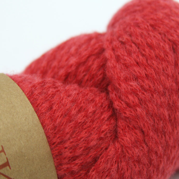 Aran Weight Yarn Baby Alpaca Cotton Red