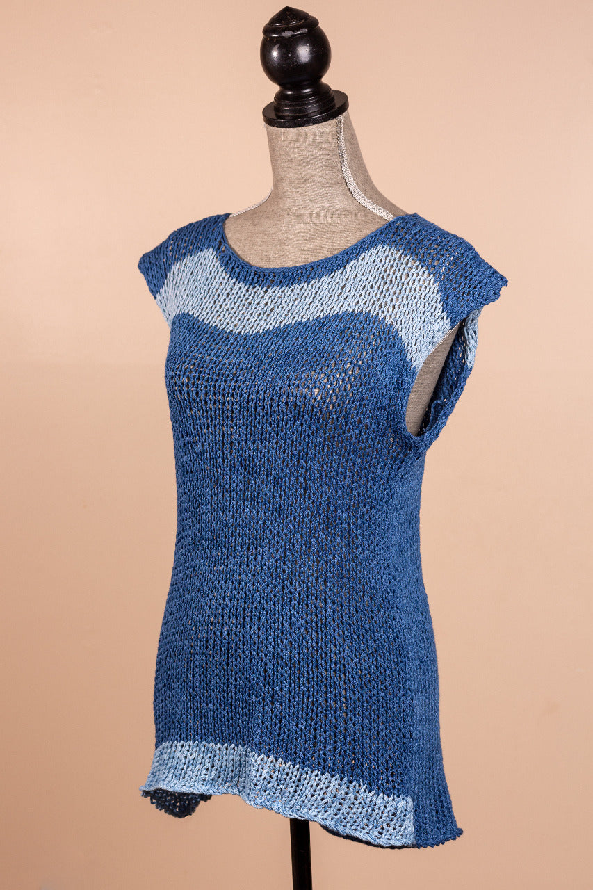Indigo blue jean tank knitting kit