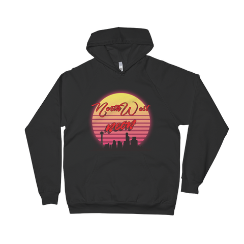Retrowave Seattle Sunset Unisex Fleece Hoodie