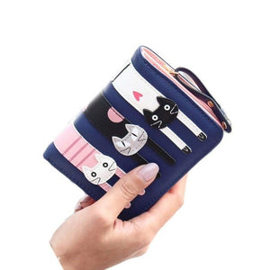 Women Girls Cute Short Standard Wallets PU Leather Cartoon Cat Purse For Female Lady Small Pouch Zipper Coin Purses Wallets