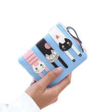 Charger l'image dans la galerie, Women Girls Cute Short Standard Wallets PU Leather Cartoon Cat Purse For Female Lady Small Pouch Zipper Coin Purses Wallets