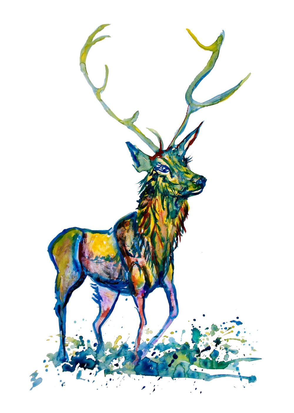 Green Stag A3 Print