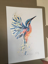 Load image into Gallery viewer, Gold leaf kingfisher flight (unframed)