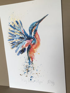 Gold leaf kingfisher flight (unframed)