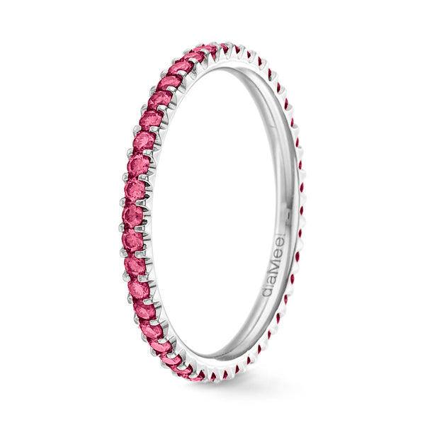 Bague Diamants fuchsia Serti 2 griffes Prestige - Tour complet 1.5 mm / 0,50 carat