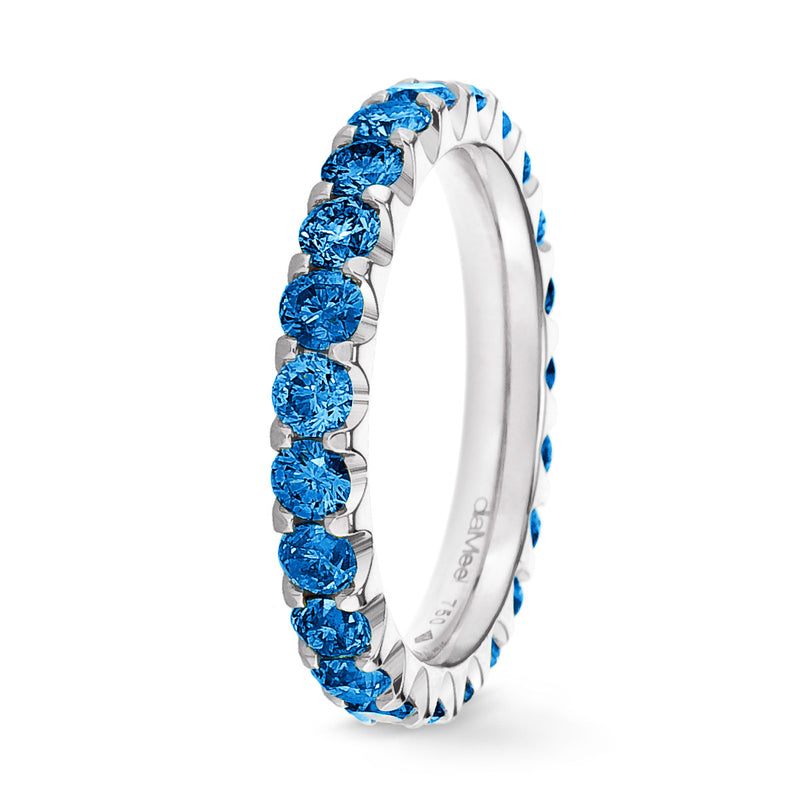 Bague Diamants bleu Royal Serti 2 griffes Prestige - Tour complet 2.5 mm / 1.5 carat