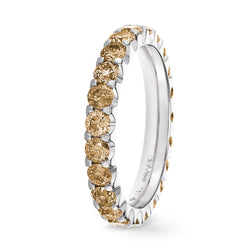 Bague Diamants Champagne Serti 2 griffes Prestige - Tour complet 2.5 mm / 1.5 carat