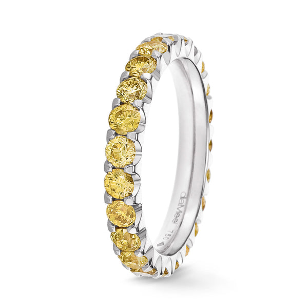 Bague Diamants jaunes Serti 2 griffes Prestige - Tour complet 2.5 mm / 1.5 carat