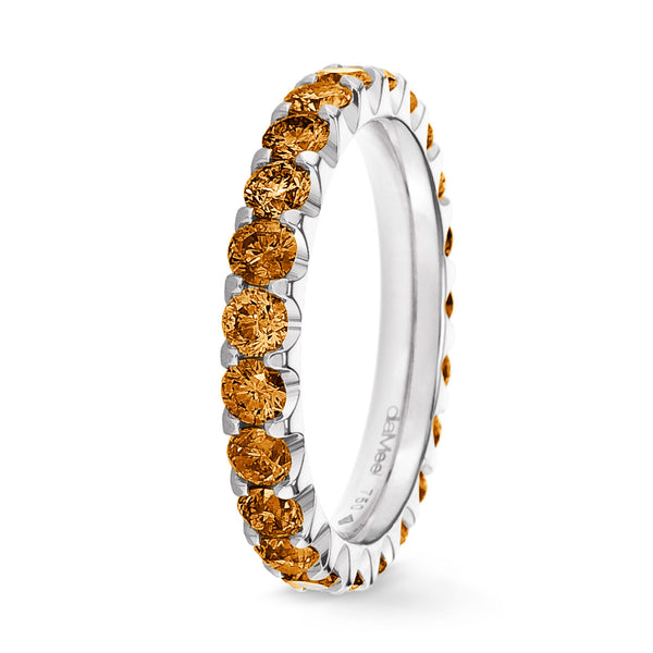 Bague Diamants oranges Serti 2 griffes Prestige - Tour complet 2.5 mm / 1.5 carat
