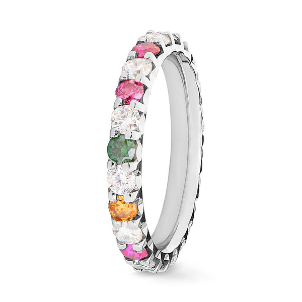 Bague Diamants Joy of Colour Serti 2 griffes Prestige - Tour complet 2.5 mm / 1.5 carat
