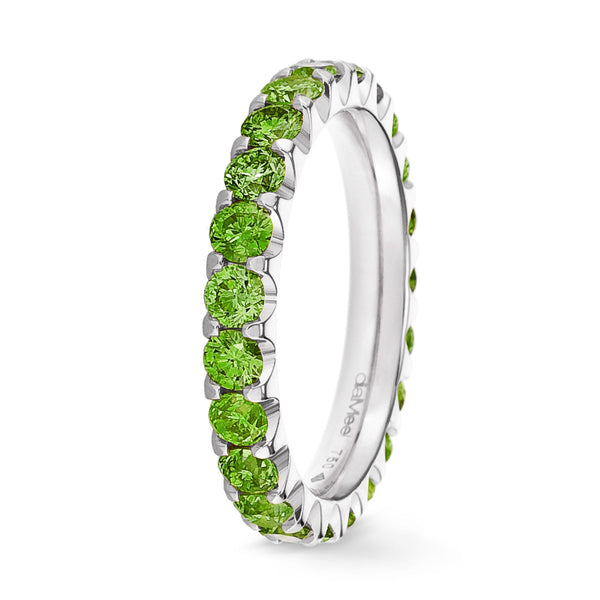 Bague Diamants Apple Green Serti 2 griffes Prestige - Tour complet 2.5 mm / 1.5 carat