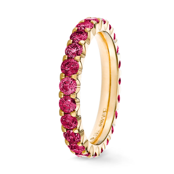 Bague Diamants fuchsia Serti 2 griffes Prestige - Tour complet 2.5 mm / 1.5 carat